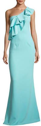 Black Halo Manala One-Shoulder Tiered Ruffle Mermaid Gown, Atlantic Aqua
