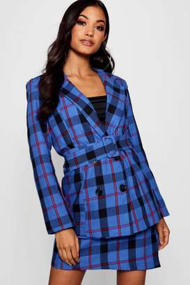 boohoo Woven Check Double Breasted Belted Longline Blazer