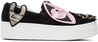 Kenzo Black K-Patch Platform Slip-On Sneakers $400 thestylecure.com