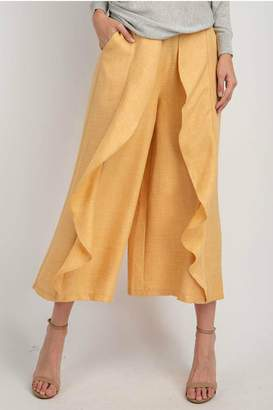 Easel Wide-Leg Ruffled Pants