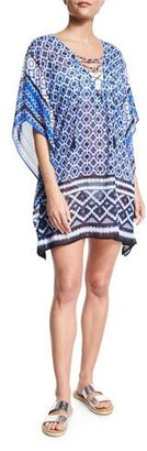 Tommy Bahama Shibori Lace-Up Coverup, Blue $98 thestylecure.com