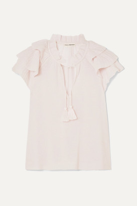 Ulla Johnson Edith Ruffled Cashmere-blend Top - Baby pink