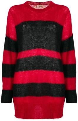 No.21 striped mid-length sweater