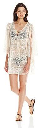 Lucky Brand Women's Fly Away Crochet Lace Poncho Cover-Up Dress with Beads and Tassels $84 thestylecure.com