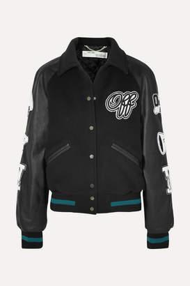 Off-White Appliquéd Wool-blend And Leather Jacket - Black