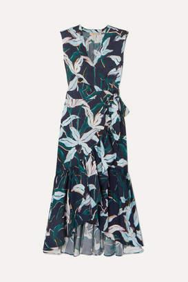 Tory Burch Ruffled Floral-print Cotton-poplin Wrap Dress - Navy