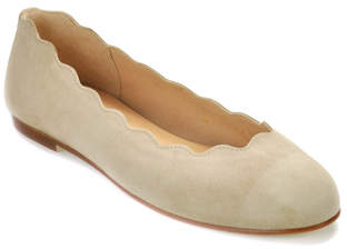 French Sole Jigsaw - Suede Scallop Ballet Flat