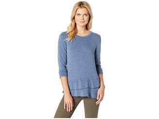 Mod-o-doc So Soft Sweater Knit Long Sleeve Pullover with Asymmetrical Flounce Hem