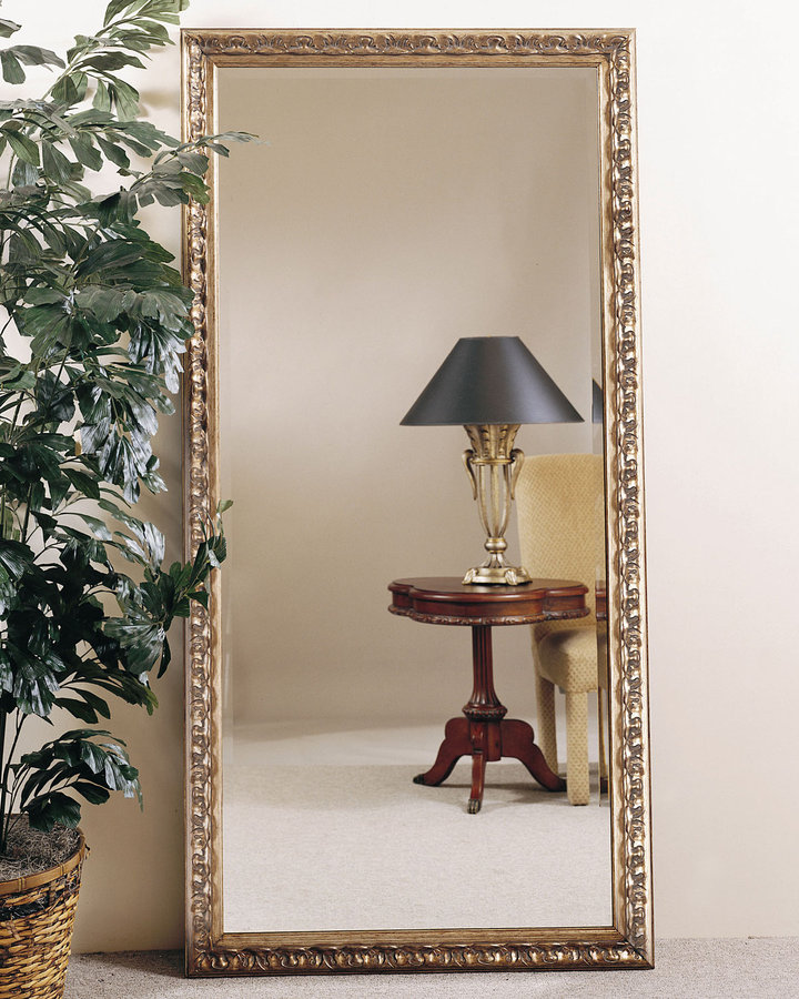 Horchow Gold-Leaf Floor Mirror