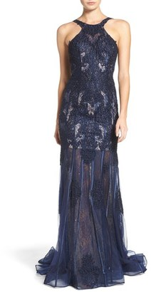 Women's Jovani Embellished Lace Mermaid Gown $578 thestylecure.com