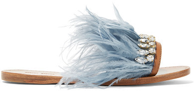 Miu Miu - Swarovski Crystal And Feather-embellished Satin And Leather Slides - Sky blue
