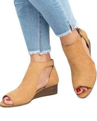 c0d01c5e289e DecoStain Women s Spring Summer Casual Wedge Sandals Ankle Strap Peep Toe  Shoes Espadrille Sandals