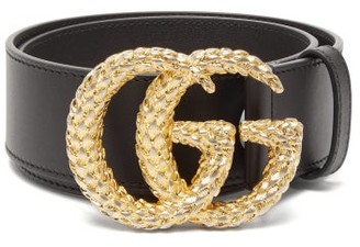 Gucci Gg Wheat Effect Logo Wide Leather Belt - Womens - Black