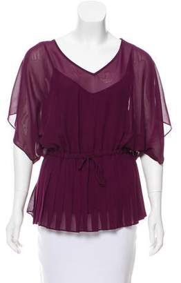 Ella Moss Pleated Short Sleeve Blouse w/ Tags