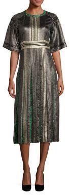 Burberry Burberry Metallic & Python Print Pleated Dress