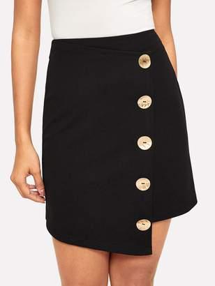 f251ae8124 Shein Asymmetrical Hem Button Up Zip Back Skirt