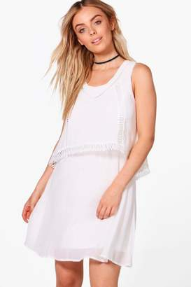 boohoo Double Layer Crochet Trim Skater Dress