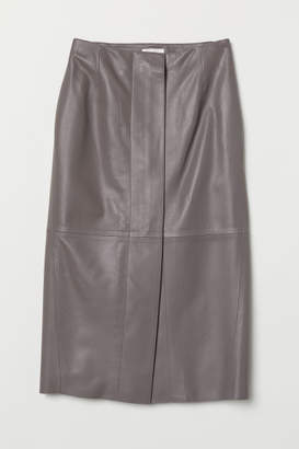 H&M Knee-length Leather Skirt - Gray