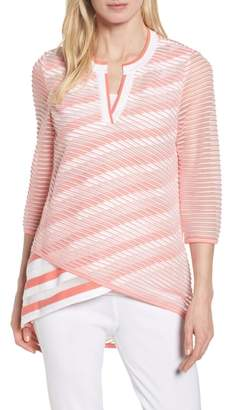 Ming Wang Sheer Stripe Knit Tunic
