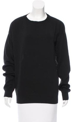 Baja East Open Knit-Paneled Crew Neck Sweater $75 thestylecure.com