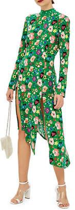 Topshop Floral-Print Midi Dress