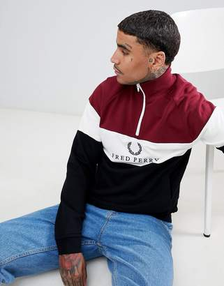 Fred Perry Sports Authentic 90s logo 1/4 zip panel sweat in black/burgundy