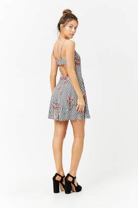Forever 21 Floral Gingham Skater Mini Dress