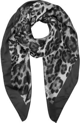 Forzieri Animal Print Twill Silk Square Scarf