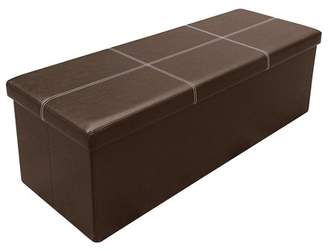 Otto & Ben 45 inch Line Design Memory foam Seat Folding Storage Ottoman Bench with Faux Leather, Color available in Black/Brown