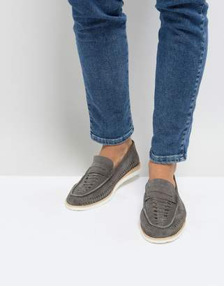 Frank Wright Woven Penny Loafers In Gray