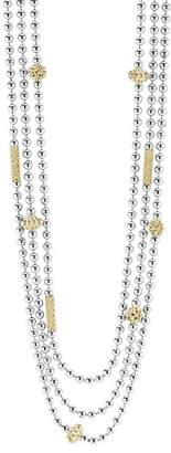 """Lagos 18K Gold and Sterling Silver Three Strand Caviar Icon Beaded Necklace, 22"""""""