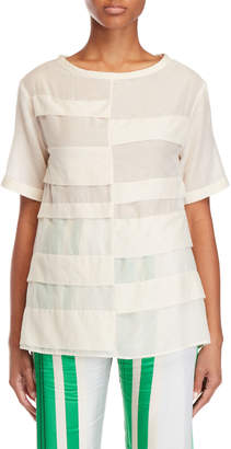 Alysi Pleated Gauze Top