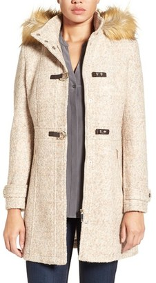 Women's Ivanka Trump Hooded Toggle Coat With Faux Fur Trim $298 thestylecure.com