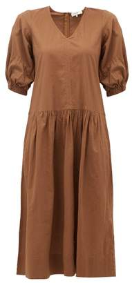 Sea Rumi V Neck Cotton Dress - Womens - Brown