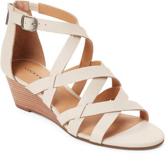 Lucky Brand Sandshell Jewelia Strappy Wedge Sandals