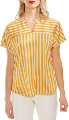 Vince Camuto Split Neck Stripe Top