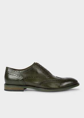 Paul Smith Men's Dark Green Leather 'Munro' Flexible Travel Brogues