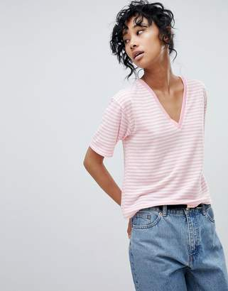 Asos Design DESIGN Linen V-Neck T-Shirt In Stripe