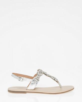 Le Château Jewel Embellished Leather T-Strap Sandal