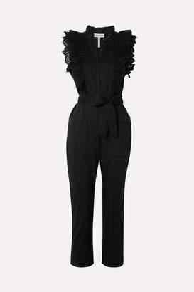Apiece Apart Limon Ruffled Broderie Anglaise-trimmed Cotton-voile Jumpsuit - Black