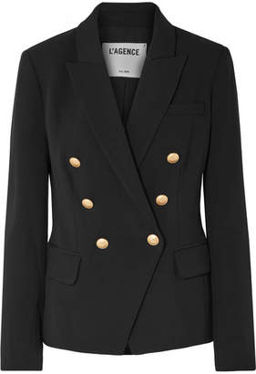 L'Agence Kenzie Double-breasted Crepe Blazer - Black