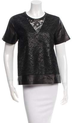 Reed Krakoff Leather-Trimmed Lace Top