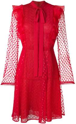 Giamba lace embroidered flared dress