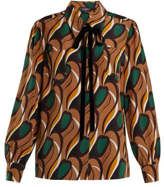 Rochas Tie Neck Silk Crepe Blouse - Womens - Brown Multi