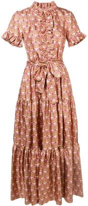 La DoubleJ ruffled geometric print dress