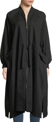 P. Luca Oversized Zip-Front Belted Duster Jacket