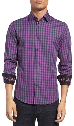 Men's Stone Rose Trim Fit Embroidered Trim Dobby Gingham Sport Shirt $145 thestylecure.com