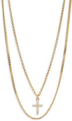 Argentovivo Double Layer Cross Necklace