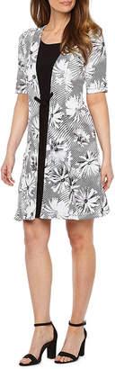 Perceptions Short Sleeve Floral Faux Jacket Dress
