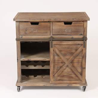 Winsome House Rustic Wood Sliding Barn Door Wine Cabinet